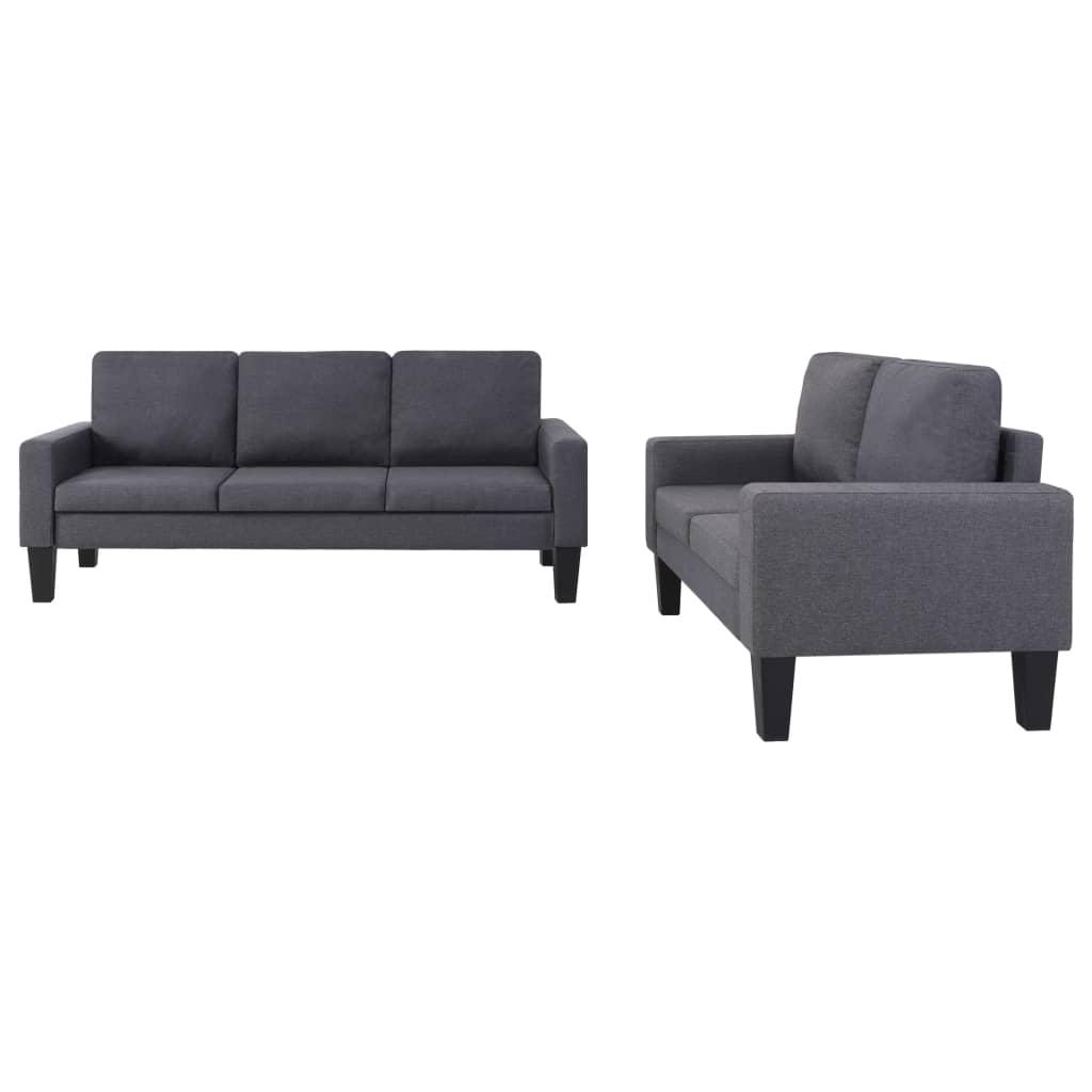 vidaXL Set de canapele, 2 piese, material textil, gri închis poza 2021 vidaXL
