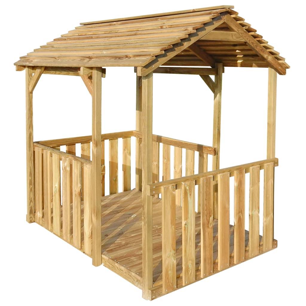 vidaXL Căsuță de joacă de exterior, 122,5 x 160 x 163 cm, lemn de pin vidaxl.ro