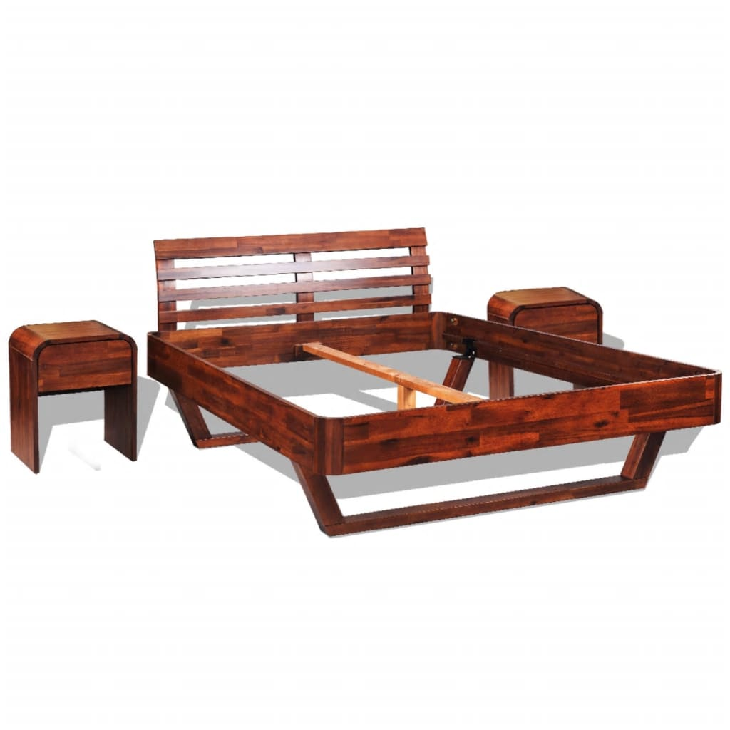 vidaXL Rám postele s 2 nočními stolky z masivní akácie 140 x 200 cm