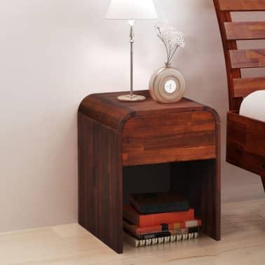 vidaXL gultas rāmis, 2 naktsskapīši, 140x200 cm, akācijas masīvkoks[2/17]