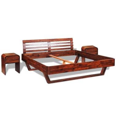 vidaXL Okvir za krevet i 2 noćna ormarića od masivnog bagremovog drva 180 x 200 cm[1/17]