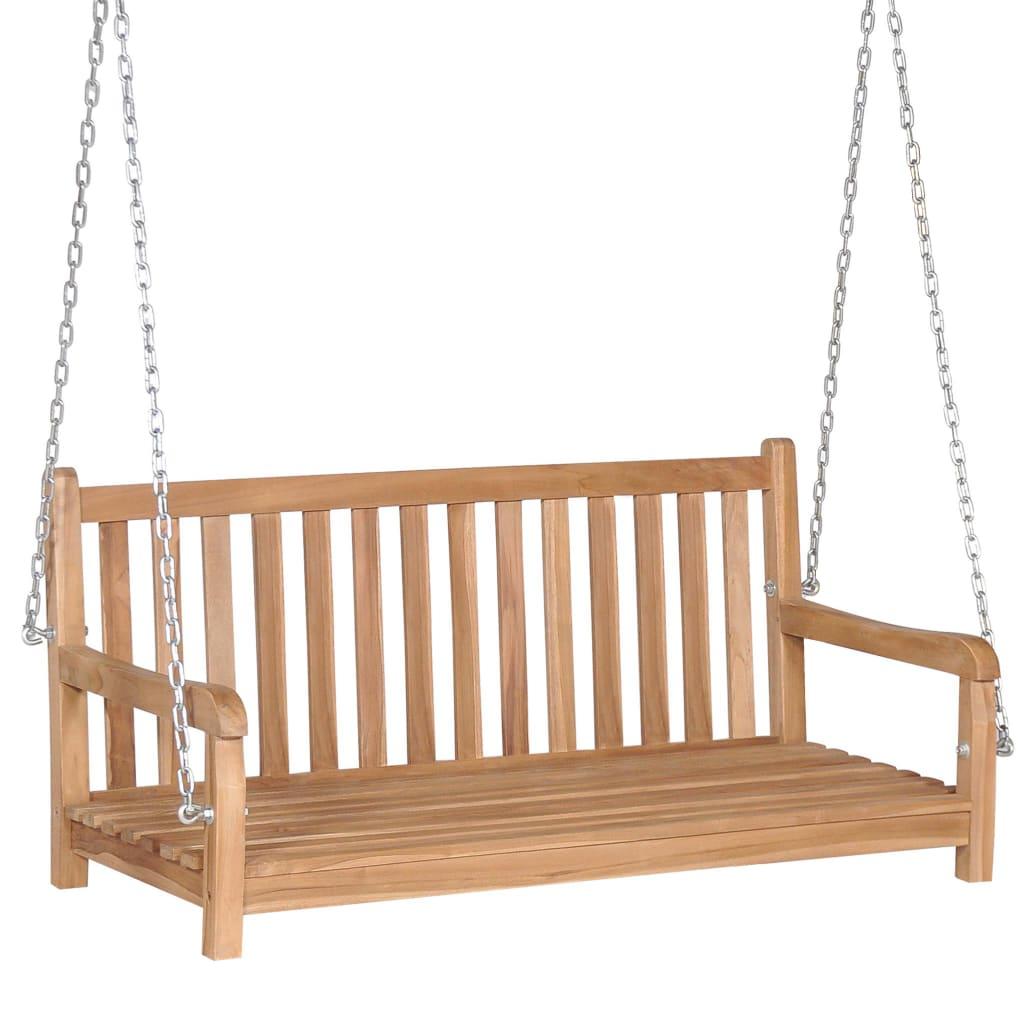 Cette balançoire en bois de teck massif deviendra le point central de votre jardin ou de tout autre espace de vie extérieur. C'est un choix parfait pour vous détendre ou profiter d'une conversation avec votre ami.