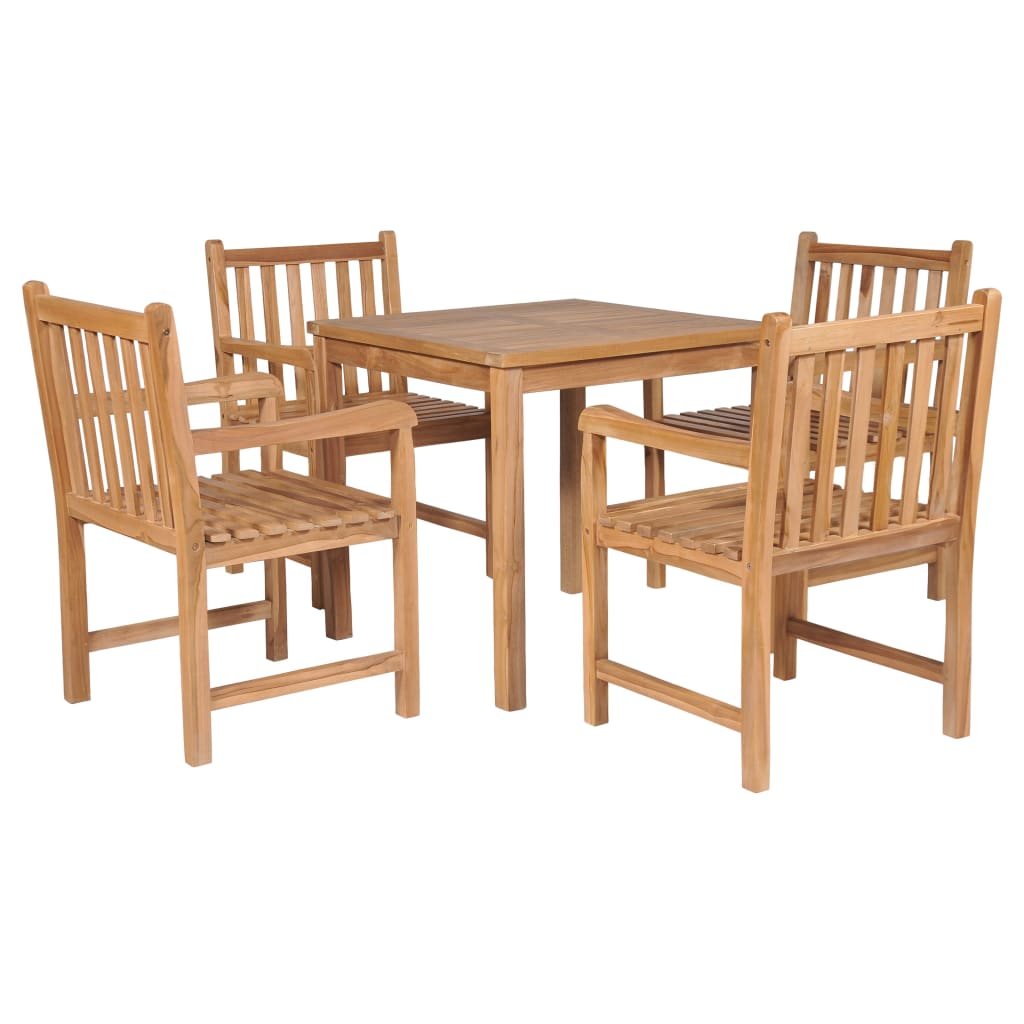 vidaXL udendørs spisebordssæt 5 dele massivt teaktræ