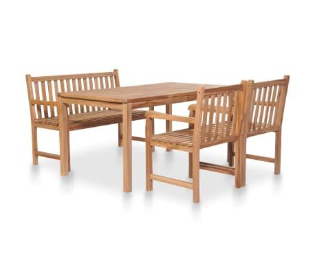 vidaXL 4 Piece Outdoor Dining Set Solid Teak Wood