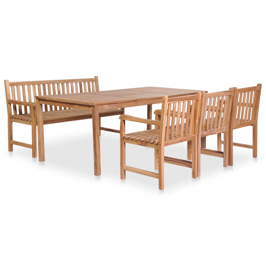 vidaXL Set mobilier de exterior, 5 piese, lemn masiv de tec poza vidaxl.ro