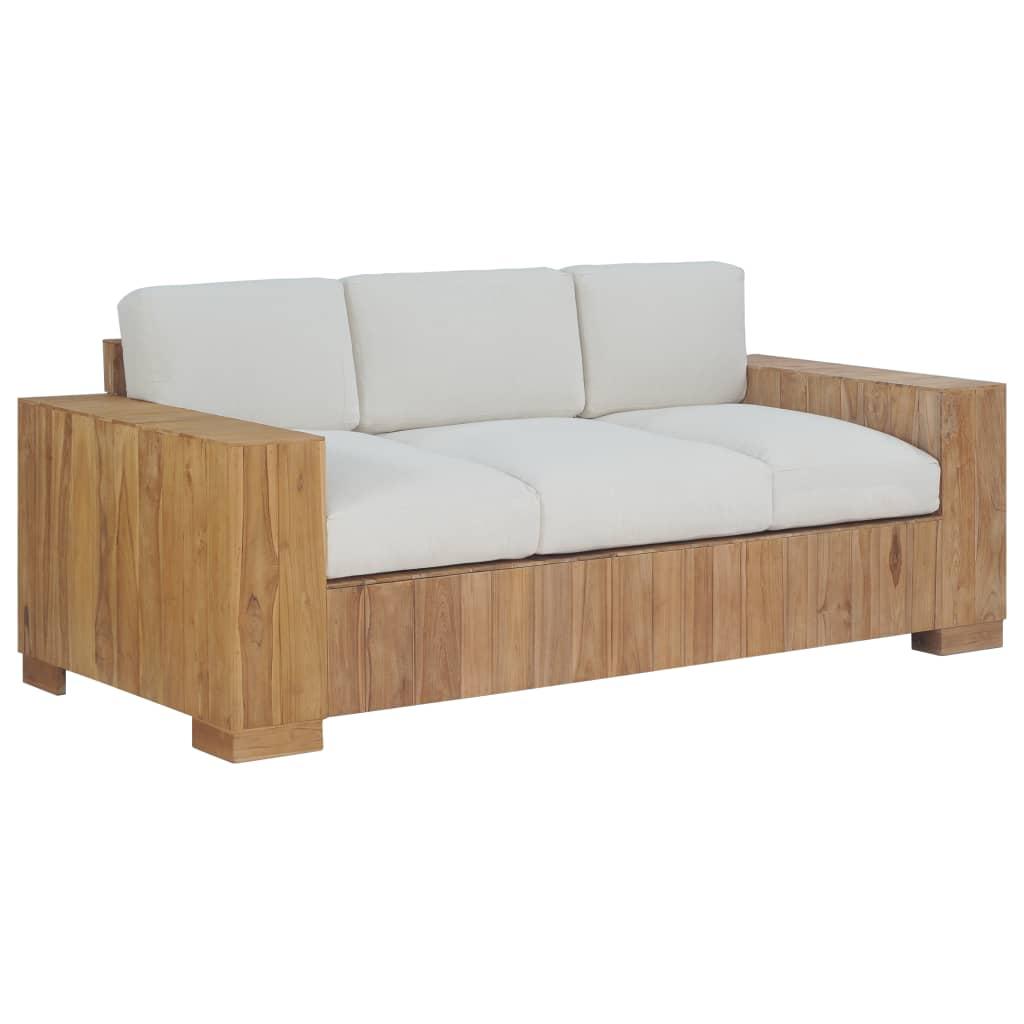 vidaXL Sofa z poduszkami, 3-osobowa, lite drewno tekowe