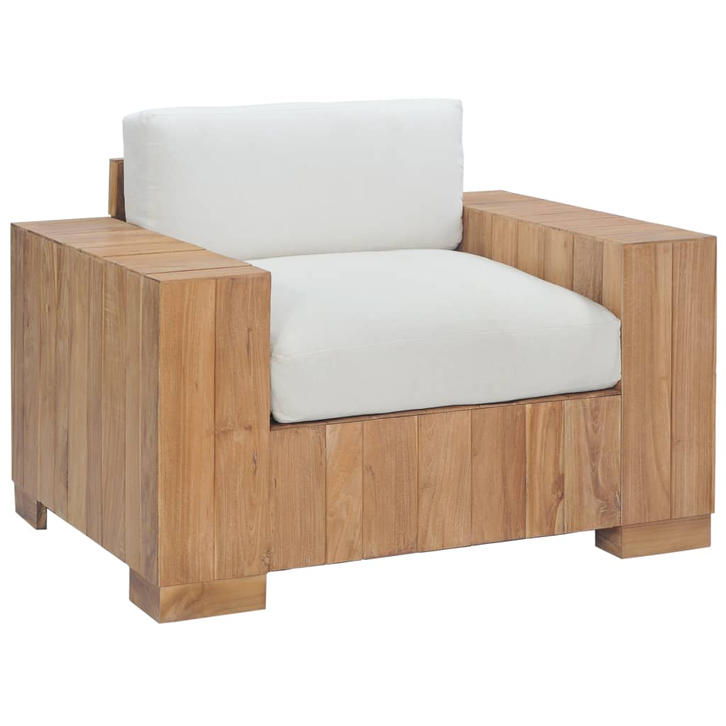 vidaXL Fotoliu cu perne, lemn masiv de tec imagine vidaxl.ro