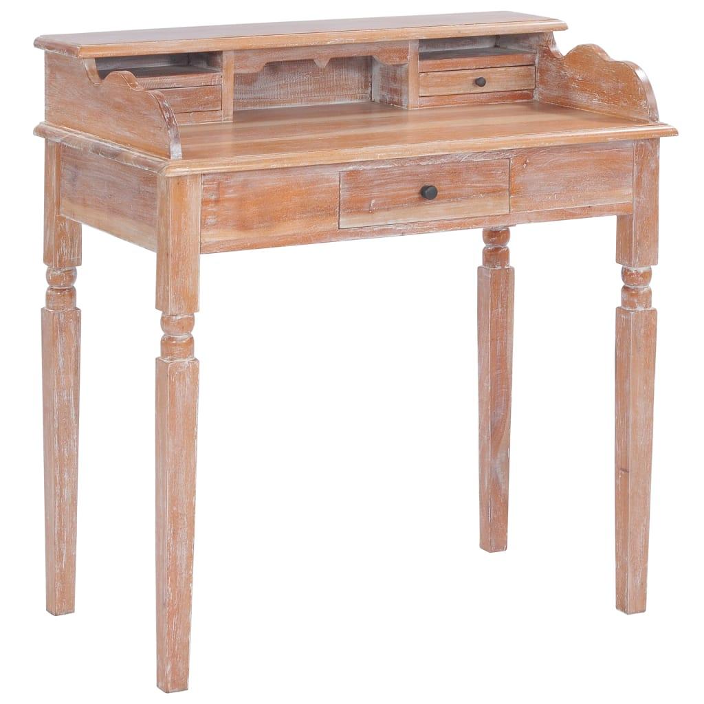 vidaXL Biurko, 90x50x98 cm, lite drewno mahoniowe