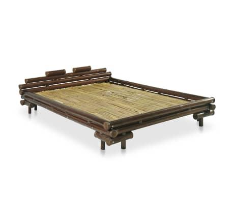 vidaXL Cadre de lit Marron foncé Bambou 140 x 200 cm