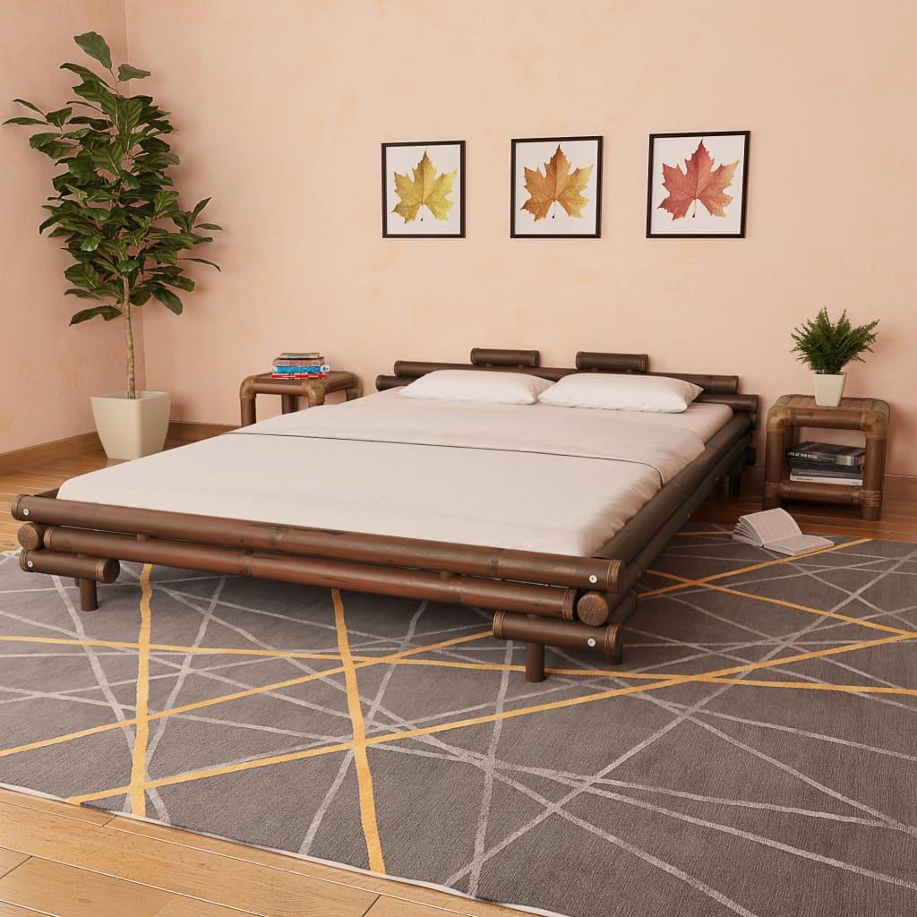 vidaXL Bambusová postel 160 x 200 cm tmavě hnědá