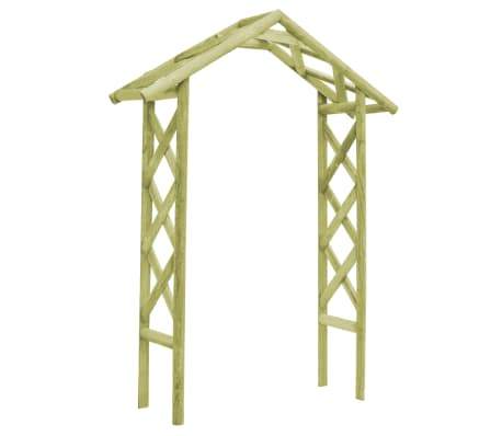 vidaXL Arco de jardín 135x45x232 cm madera pino impregnada verde