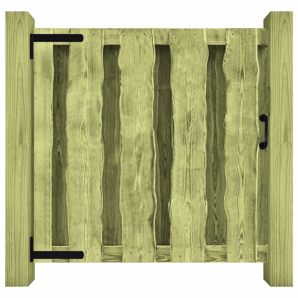 vidaXL Poartă de grădină, verde, 100 x 100 cm, lemn de pin tratat poza vidaxl.ro