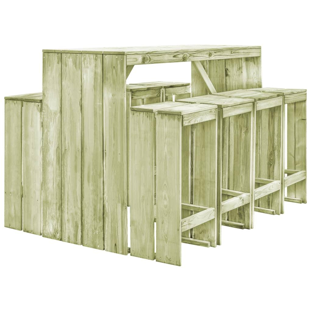 vidaXL 9-częściowy ogrodowy zestaw jadalniany, impregnowana sosna FSC