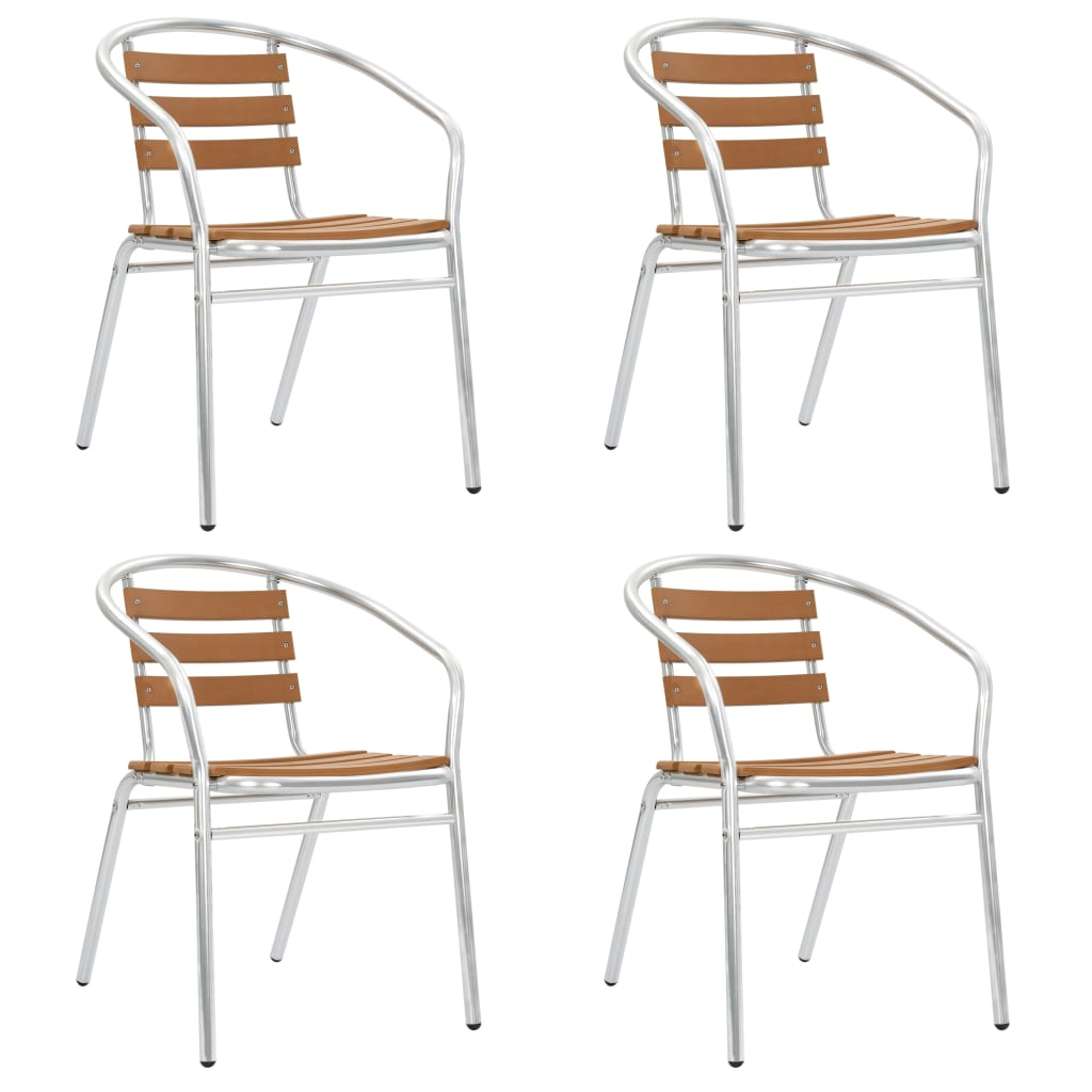 vidaXL Καρέκλες Κήπου Στοιβαζόμενες 4 τεμ. Ασημί από Αλουμίνιο και WPC