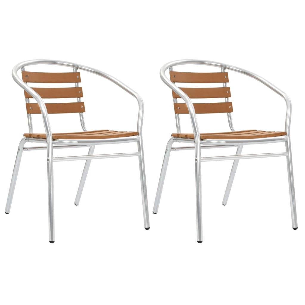 vidaXL Καρέκλες Κήπου Στοιβαζόμενες 2 τεμ. Ασημί από Αλουμίνιο και WPC