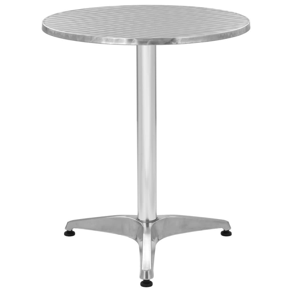 vidaXL Stół ogrodowy, srebrny, 60x70 cm, aluminiowy
