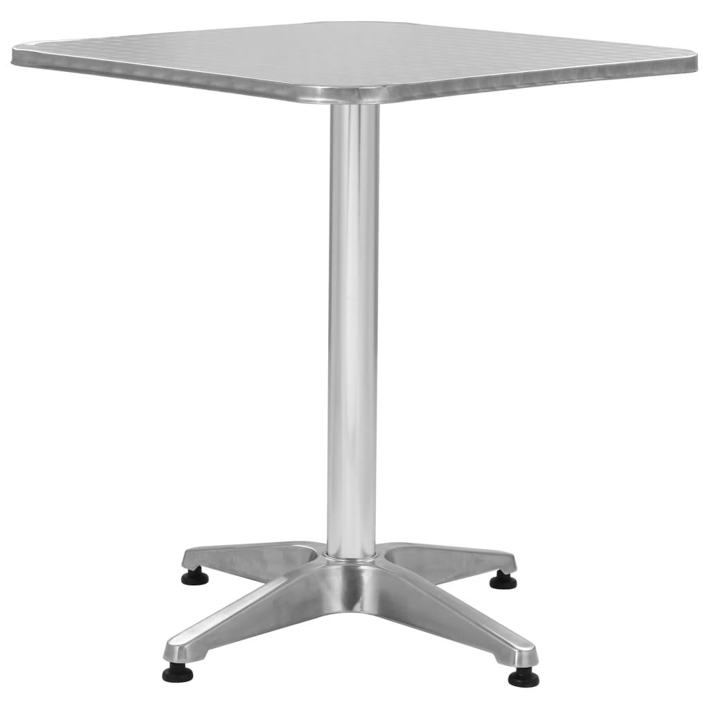 vidaXL Stół ogrodowy, srebrny, 60x60x70 cm, aluminiowy