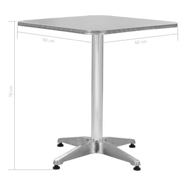 vidaXL Tuintafel 60x60x70 cm aluminium zilverkleurig[5/5]