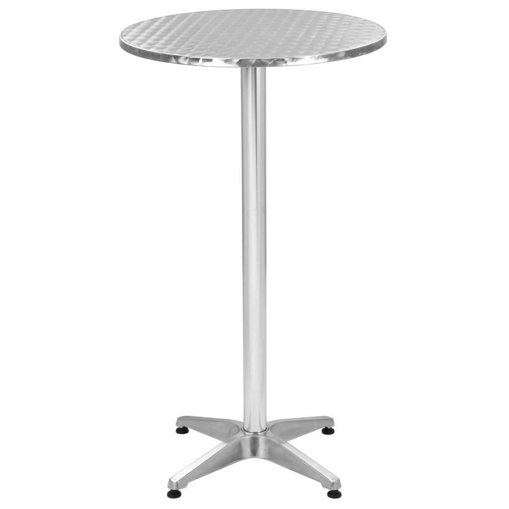 vidaXL Składany stół ogrodowy, srebrny, 60x(70-110) cm, aluminiowy