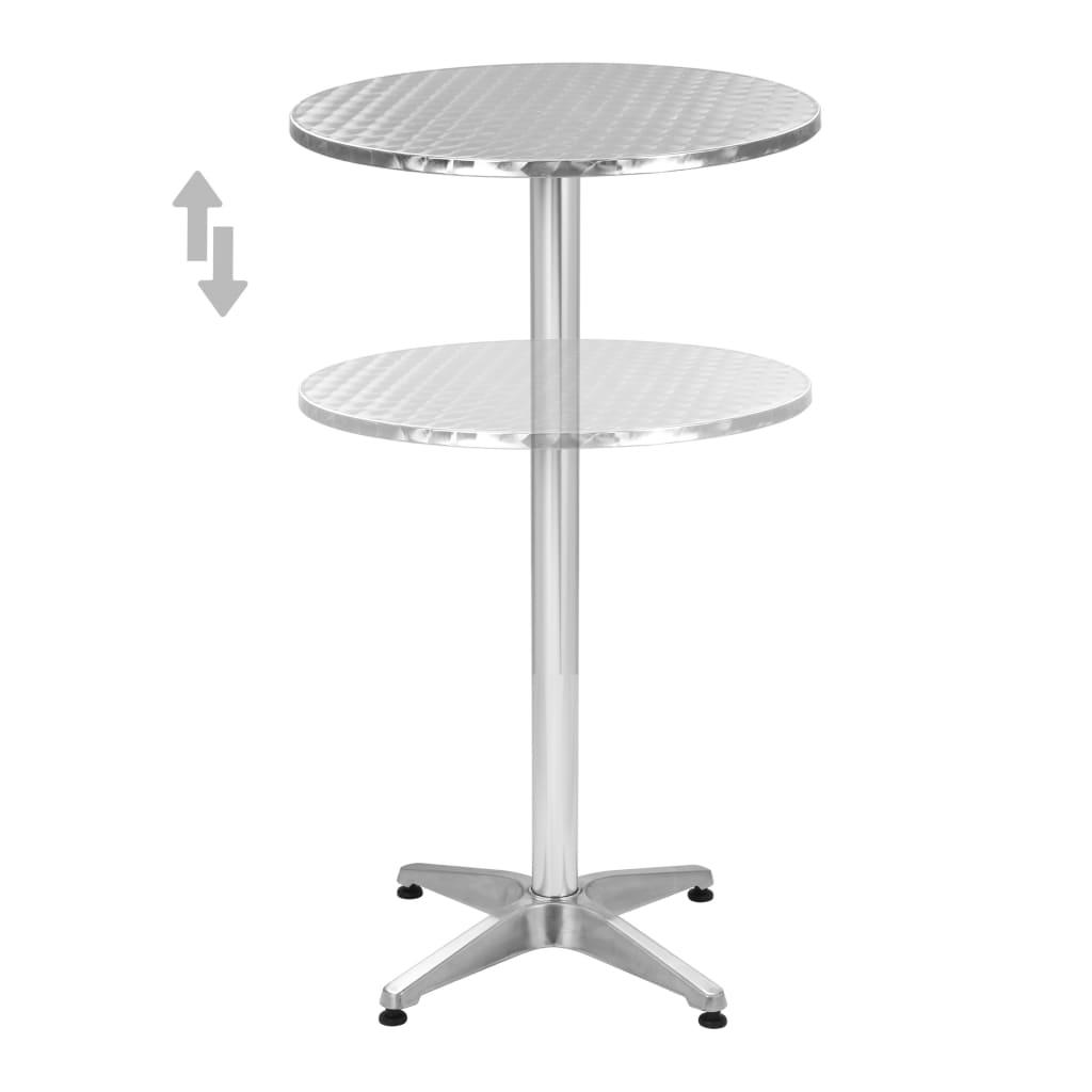 vidaXL Set da Bar 3 pz Tavolo Rotondo Argento in Alluminio Sgabelli Sedie Alte