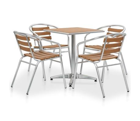 Set Da Giardino Tavolo E Sedie.Vidaxl Set Tavolo E Sedie Da Giardino 5 Pz In Alluminio E Wpc
