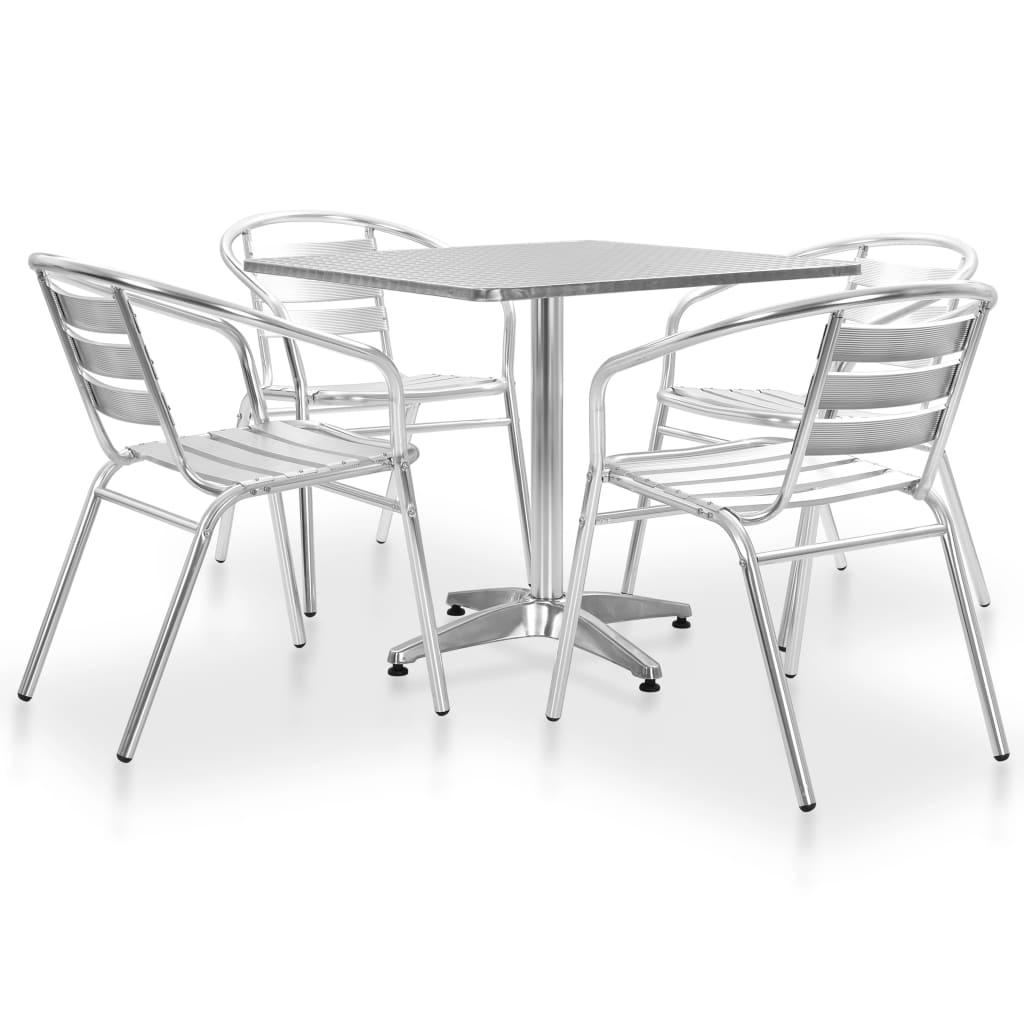vidaXL 5-częściowy zestaw mebli ogrodowych, aluminium, srebrny