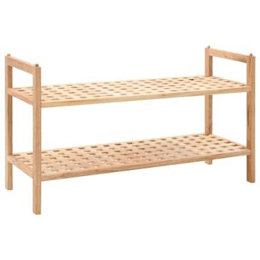 """vidaXL Shoe Rack Solid Walnut Wood 27.2""""x10.2""""x15.7""""[1/6]"""