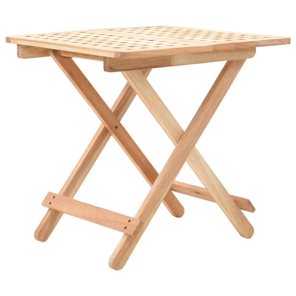 vidaXL Skládací odkládací stolek masivní ořechové dřevo 50x50x49 cm