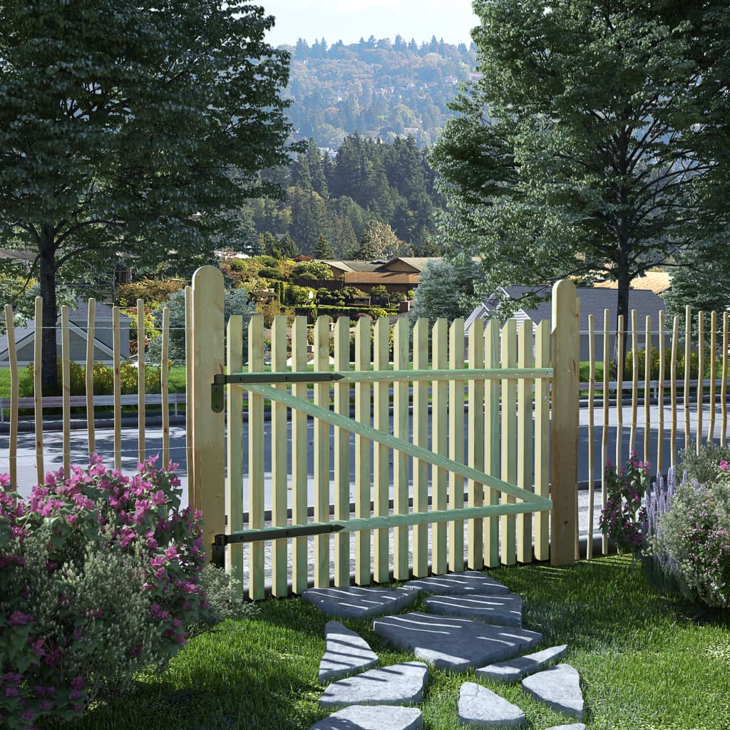 vidaXL Picket Garden Gate FSC Impregnated Pinewood 100×75 cm