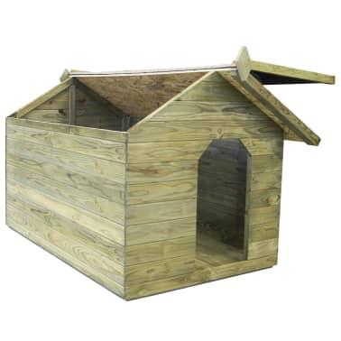 vidaXL Niche de jardin avec toit ouvrant pour chien Pin imprégné FSC[5/6]