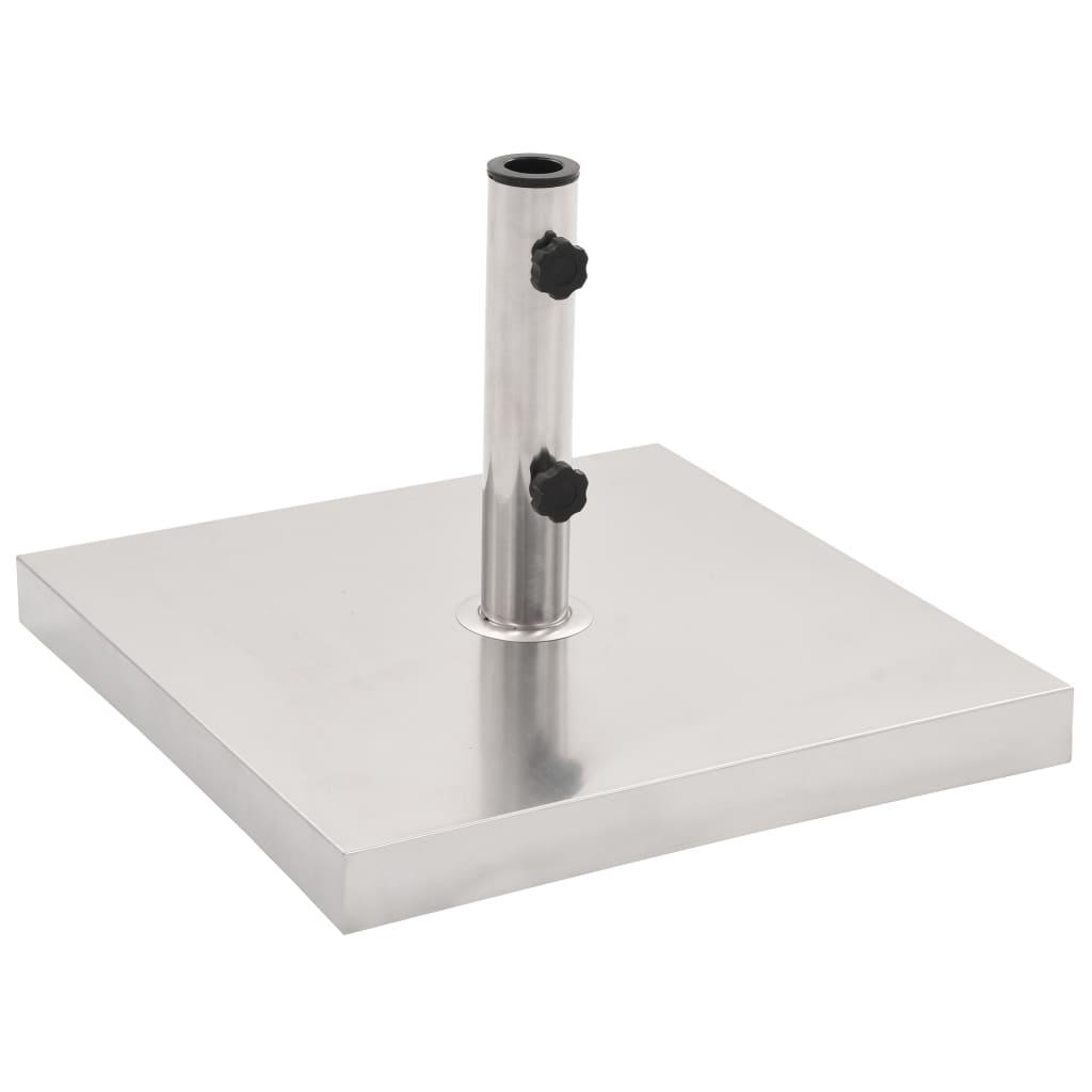 vidaXL Suport umbrelă soare, argintiu, oțel inoxidabil, pătrat, 30 kg vidaxl.ro