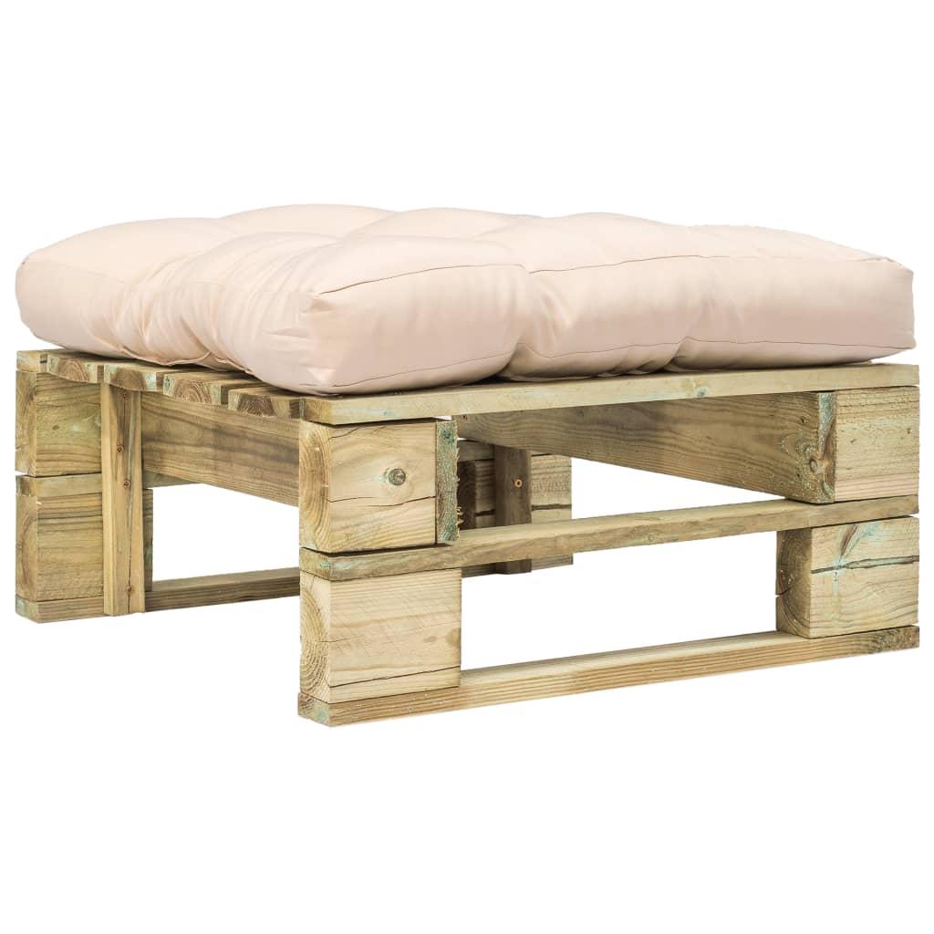 Zahradní taburet z palet s pískovou poduškou zelené FSC dřevo