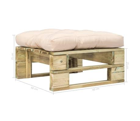 vidaxl garten palettenm bel hocker mit sandfarbigem kissen gr nes holz g nstig kaufen. Black Bedroom Furniture Sets. Home Design Ideas