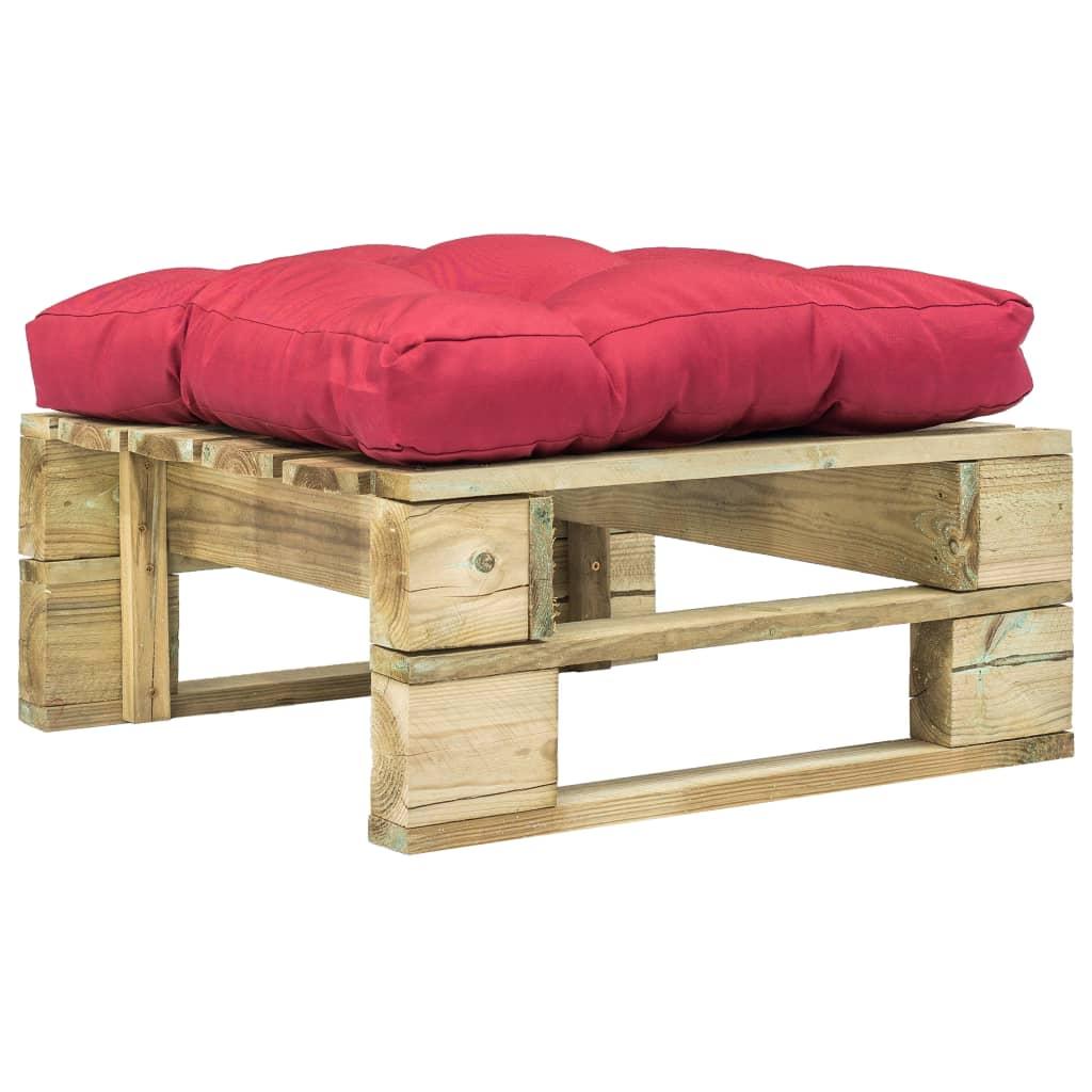 Zahradní taburet z palet s červenou poduškou zelené FSC dřevo