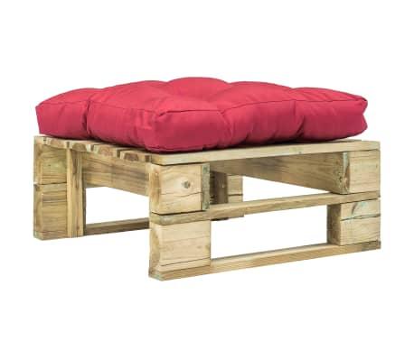 vidaXL Tuinpoef met rood kussen pallet hout groen