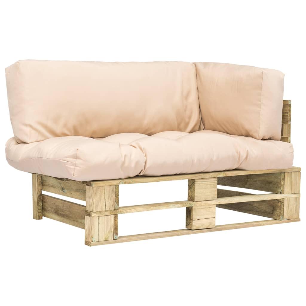 vidaXL Canapea de grădină din paleți, perne nisipii, lemn de pin imagine vidaxl.ro