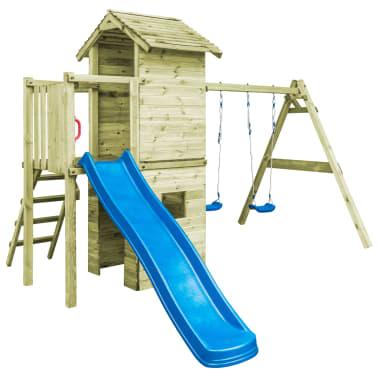 vidaXL Speelhuis met ladder, glijbaan en schommels 390x353x268 cm hout[2/7]