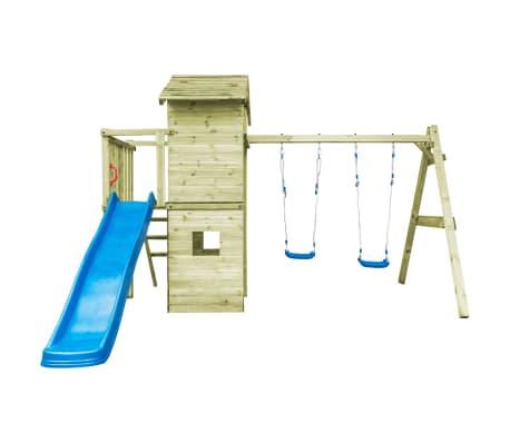 vidaXL Speelhuis met ladder, glijbaan en schommels 390x353x268 cm hout[3/7]