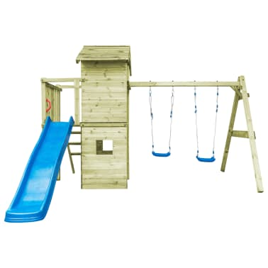 vidaXL Aire de jeu avec échelle, toboggan et balançoires Bois FSC[3/7]