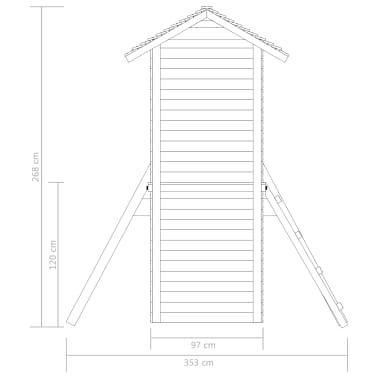 vidaXL Speelhuis met ladder, glijbaan en schommels 390x353x268 cm hout[5/7]