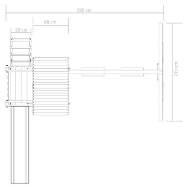 vidaXL Speelhuis met ladder, glijbaan en schommels 390x353x268 cm hout[6/7]