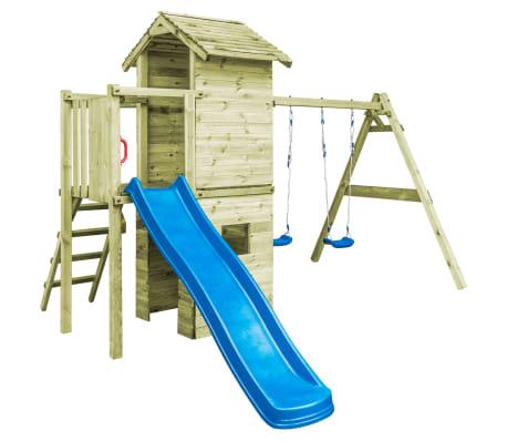 vidaXL Speelhuis met ladder, glijbaan en schommels 390x353x268 cm hout[1/7]