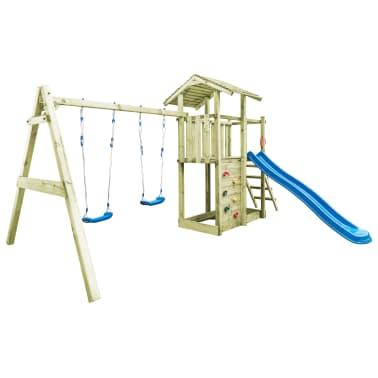 vidaXL Aire de jeu avec échelle, toboggan et balançoires Bois FSC[2/8]