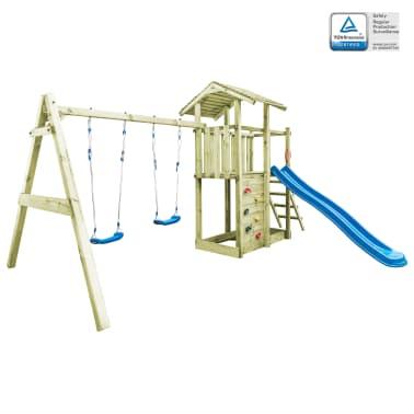 vidaXL Aire de jeu avec échelle, toboggan et balançoires Bois FSC[1/8]
