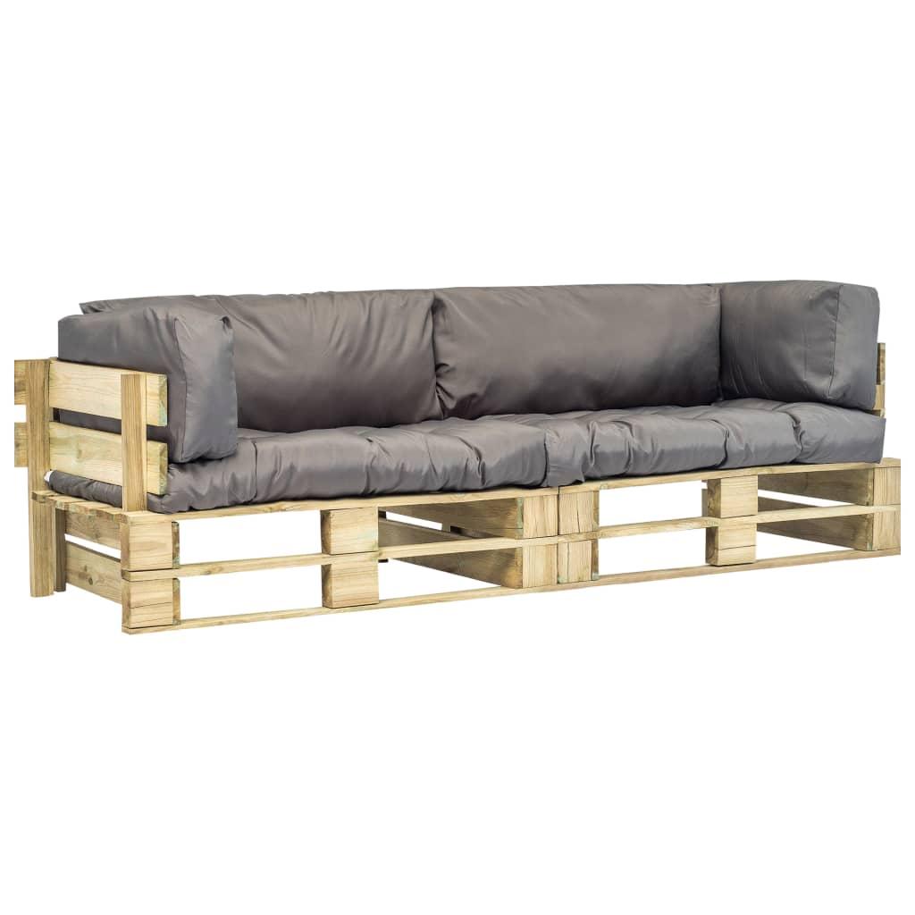 vidaXL Ogrodowe sofy z palet, 2 szt., drewno FSC z szarymi poduszkami