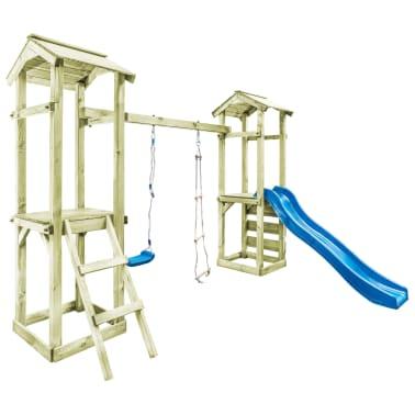 vidaXL Parque infantil con escalera, tobogán y columpio de madera FSC[2/8]