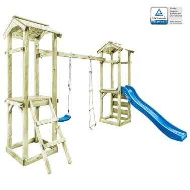 vidaXL Parque infantil con escalera, tobogán y columpio de madera FSC[1/8]