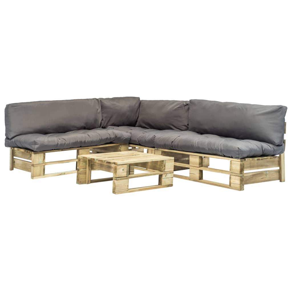 vidaXL Set mobilier de grădină din paleți, perne gri, 4 piese, lemn poza vidaxl.ro