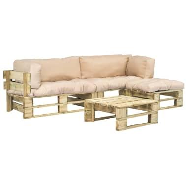 vidaXL 4-tlg. Garten-Lounge-Set Paletten Sandfarbene ...