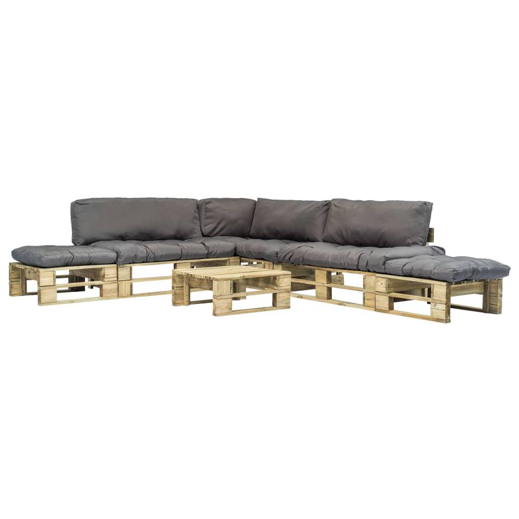 vidaXL Set mobilier de grădină din paleți cu perne gri, 6 piese, lemn poza vidaxl.ro